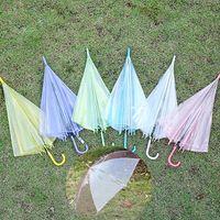 Wholesale Rain Transparent Umbrella for Women Kids Fashion Clear Pink Purple Yellow White Blue Green Hot Sale Summer