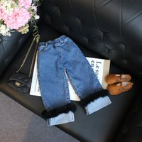 Wholesale Europe and the United States fashion children s clothing spring new girl Western style cowboy with flash trim wide leg jeans
