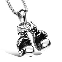animal designs gloves - 2017 New Fashion Men Jewelry Necklaces Design Stainless Steel Double Boxing gloves Chain Necklace Black Golden White GX1095