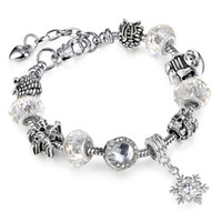 Wholesale New European Allow Silver Plated Bead Crystal Charm Bracelet With White Murano Glass Beads Charm DIY Jewelry AA97