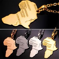 africa stamps - Men Women Vivid Africa Map with Stamp K Real Gold Platinum Plated Casual African Jewelry Pendants Necklaces