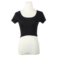 active basic tee - Short Sleeves Sexy Women Basic Tees Tops Cropped T shirt Blusas White Women Summer Clothing Short daily wear TONSEE
