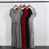 Wholesale New Cotton Modal Maternity Dress Solid Color One Piece Pregnant Women Big Yards Short Sleeve Loose Bohemian Dress WA1703