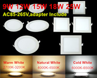 Wholesale Ultra Thin Led Panel Downlight W W W W w W W W Round Square LED Ceiling Recessed Light AC85 V LED Panel Light SMD2835