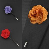 Hot Sale Ruban Lapin Fleur Rose Handmade Boutonniere Broche Pin Hommes Accessoires Broches Pins Bijoux Vente en gros Livraison gratuite 0406WH