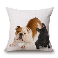 Wholesale Fashion Cotton Linen Original Design Painting Pet Dog Throw Pillow Case Cushion Cover Sofa Home Decor