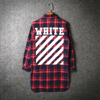Wholesale Fashion pyrex Off White virgil abloh Twill Printe flannel shirt extended Red plaid long sleeved shirt high quality hiphop Shirt