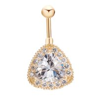 Wholesale 18K Yellow Gold Plated Clear Crystal Cluster Big Cubic Zirconia CZ Teardrop Piercing Bell Button Ring Sexy Body Jewelry for Women