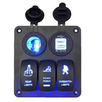 Wholesale 3 Gang Rocker Switch Panel V Cigarette Socket Double USB Ports for v v RV Car Boat Yacht Blue LED Indiator