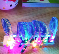 Wholesale 1M Flat Smile Face Cords LED Colorful Micro USB Charger Cable for Data Light Up Flash For Android Phone Iphone5