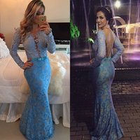 Wholesale Lace Dresses With Sleeves New Sexy V Neck Mermaid Long Prom Dresses Custom Made vestidos de fiesta