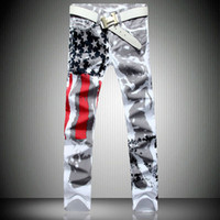 american flag patterns - New Fashion Mens American USA Flag Printed Jeans Straight Slim Fit Trousers Plus Size Casual Jeans Pants For Men