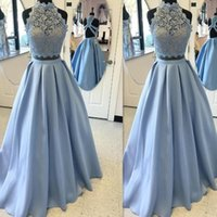 Wholesale 2017 Two Pieces Prom Dresses Light Sky Blue Satin And Lace High Neck Backless A line Modest A line Real Photo Evening Gowns Custom Made