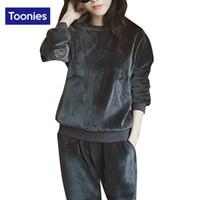 Wholesale Cashmere Hoodie Women - Velvet Cashmere Tracksuit Women Sportwear 2 Piece Set Hoodies Zipper Sweatshirt Elastic Waist Pants Casual Sudaderas Women Clothes