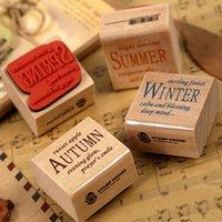 Wholesale set wooden seal four seasons stamp Kids DIY Handmade Scrapbook Photo Album students Stamps Arts Crafts gifts