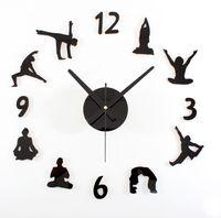 Wholesale Creative yoga wall clock for living room mute quartz DIY wall watch decorative Fashion wall stickers clock for women gift