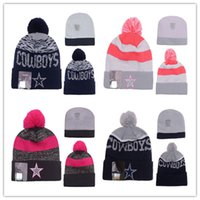 Wholesale 2017 New Fashion Pink Navy Blue Football Cowboys Beanies Pom Knit Hats Sports Cap Beanies Team Hat Hot Sale Mix Match Order