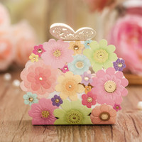 Wholesale Romantic Colorful Laser Cut Flowers Butterfly Wedding Gift Candy Favor Boxes CB5129