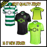 Wholesale 2016 Thai quality Sporting Lisbon Home Soccer Jersey Luis Figo Nani TEO Slimani William Sporting FC Football Lisbon shirts