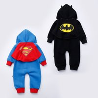 Wholesale New Baby Cartoon Rompers Boys Girls Batman Rompers With Cape Kids Long Sleeve Super Hero Jumpsuits Cotton Climbing Clothing Onesies F467