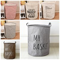 Wholesale Laundry Hamper Bag Large Storage Washing Clothes Storage Basket Useful Zakka Cotton Linen Basket Box Children Toy Organizer Bucket Bin F103