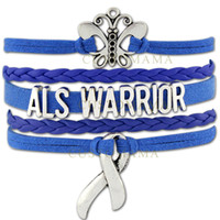 als bracelet - Custom Infinity Love Butterfly ALS Warrior Awareness Ribbon Wrap Bracelet Gift for Fighters Blue Suede Leather Custom Any Themes