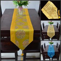 Wholesale 10 Kinds of Styles Upscale flower pattern Silk Brocade Table Runner Bed Flag Home Tea Table Cloth X200CM Tablecloth For Wedding Supplies