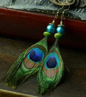 Wholesale 14cm chinese earring peacock feather green feather earring chinese national earrings vintage