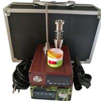aluminium pipe cap - 110 V Electric Dab Nail Aluminium Box Complete Kit Temperature Controller With Titanium Nail Carb Cap Kit for Glass Bongs Water pipe
