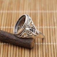 Wholesale 9x14mm Oval Cabochon Semi Mount Sterling Silver Ring Art Nouveau Design Women Fine Silver Pendant