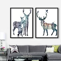 Wholesale Amadam Framed Contemporary Wall Art Deer Animal Printed Painting on Canvas for Living Room Decor