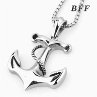 Wholesale Men s fashion design high quality punk style cool casting unfading stainless steel anchor pendant necklace nautical jewelry with chain