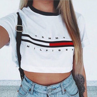 Wholesale Womens Lady Tops Loose Pullover T Shirt Short Sleeve White Cotton Crop Top Brand T shirt Fashion Shirt New Summer