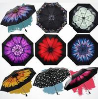 Wholesale 50 Anti uv Sun Protection Umbrella Blue Sky Folding Parasols D Flowers Blossom Sunny and Rainy Umbrellas colorful rain gear