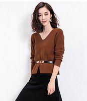 acrylic based render - Knitted sweater women s slim sweater soft fashion long sleeved v neck shirt render unlined upper garment base shirt
