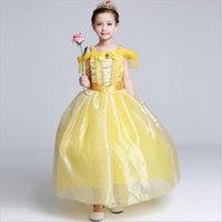 belle costumes kids - Classic Girls Dress Princess Belle Gorgeous Party Dress Kids Girls Tulle Tutu Lovely Skirts Costume Baby Girls Formal Dress Costume GD24