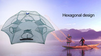 Utilidad de la red de pesca ligera de malla 6 Lado de cebo de arrabio Pequeño malla de nudo único Cangrejos de pesca Red de aparatos al aire libre de pesca Net + B