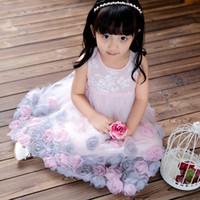 Wholesale 2016 Summer Flower Lace Puff Skirt Princess Children s High Fashion Dress Princess Dress Girl Retro Clothing