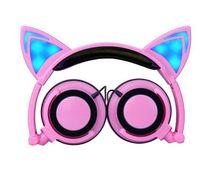 al por mayor auricular de teléfono de 3,5 mm-Plegable parpadeante brillantes auriculares del oído del gato auriculares del juego de la luz LED en el oído auriculares para PC Ordenador portátil Teléfono móvil