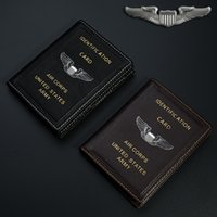 best air cards - Vintage US Army Air Corps ID Card Holder Genuine Leather Folder Case Best Gift for Pilot Aviation Lover Collection