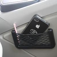 Wholesale 20x8cm Elastic Mesh Net Bag Black Universal Car Seat Side Back Pocket Storage Organizer Nylon Net Bag Phone Holder