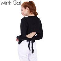 Wholesale Wink Gal Black Knitted Sweaters for women Pullovers Open Back Long Sleeve Winter Women Christmas Sweaters Knitwear