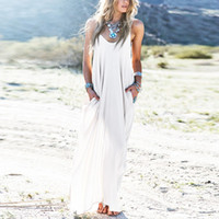 baggy maxi dress - Colors Sundress Beach Vestidos Summer Women Dress Boho Strapless Sexy V neck Sleeveless Baggy Long Maxi Dresses Plus Size