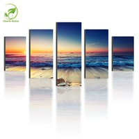 Wholesale 5pcs Sea Waves Landscape Wall Art Melamine Sponge Board Frame Canvas Oil Painting Flowers Candle Picture Room Decor Art Paint
