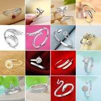 Wholesale New High Qulity Styles Mixed STYLES MIX SIZES sterling Silver fashion charm Beautiful cute Crystal Stone Wedding ring jewelry