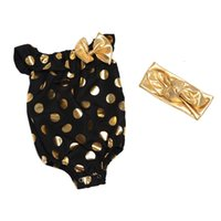 baby black headband - Baby Black Summer Boutique Gold Polka Dot Bubble Romper Hot Sale Baby Toddler Garment Match With A bowknot Headband