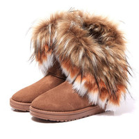Wholesale DHL Free hot sale women comfortable imitation fox fur winter warm snow boots casual flats mid calf all match