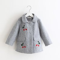 Wholesale Sweet Girls Wool Blend Coats Outwears Fall Winter Cute Jackets Gray and Red Color Holiday Clothing