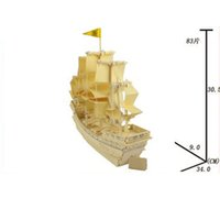Wholesale 2016 New the Ming dynasty ancient sailing ship wooden simulation model of DIY puzzle d wooden jigsaw puzzle toys for children