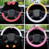 Wholesale New arrival Cute Cartoon Car Steering Wheel Cover Warm Plush Universal Interior Accessories Set Women girl Car styling